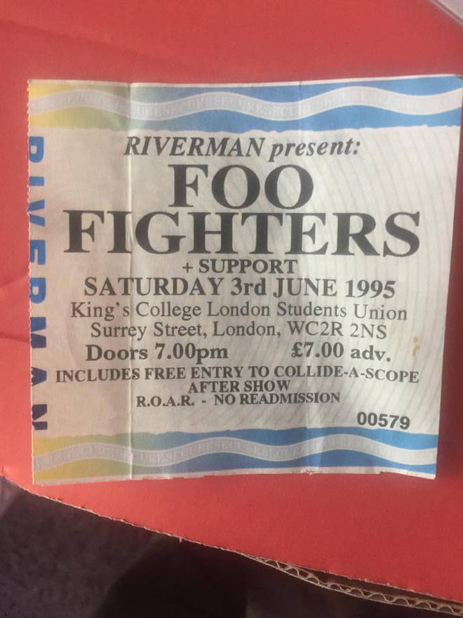 A ticket stub from Foo Fighters' first ever UK gig at Kings College London on 3 June 1995