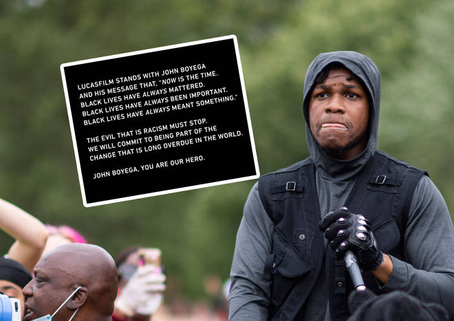 John Boyega at the Black Lives Matter demonstrations in London with LucasFilm's statement inset