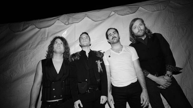The Killers at Lollapalooza in 2009: Dave Keuning, Brandon Flowers, Ronnie Vannucci Jr. and Mark Stoermer