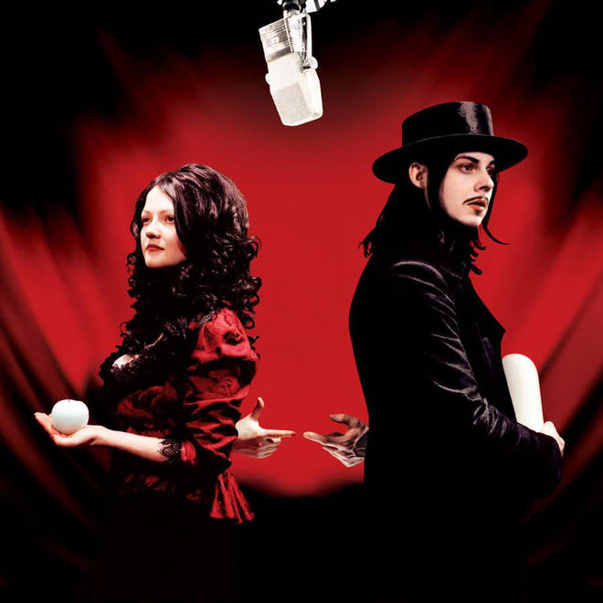 Meg White and Jack White on the cover of their Get Behind Me Satan artwork
