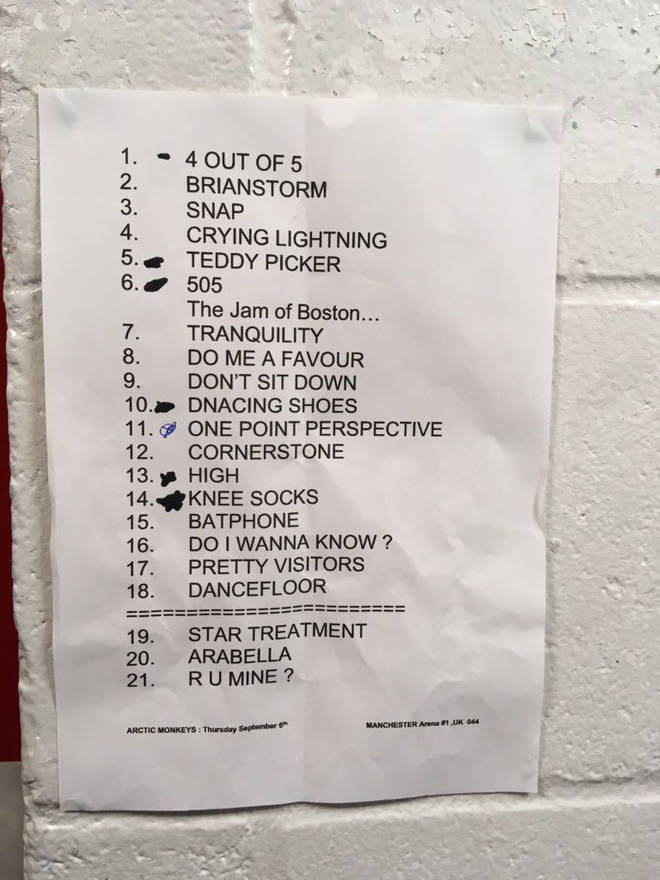 An image of Arctic Monkeys' setlist for their Manchester Arena show on 6 September 2018