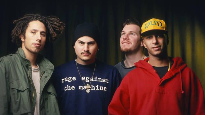 Rage Against The Machine's Zack De La Rocha, Tim Commerford, Brad Wilk and Tom Morello in 1993