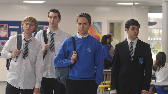 The cast of The Inbetweeners James Buckley, Blake Harrison, Joe Thomas and Simon Bird in 2011
