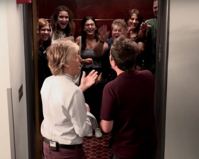 Sir Paul McCartney and Jimmy Fallon surprise people in a lift