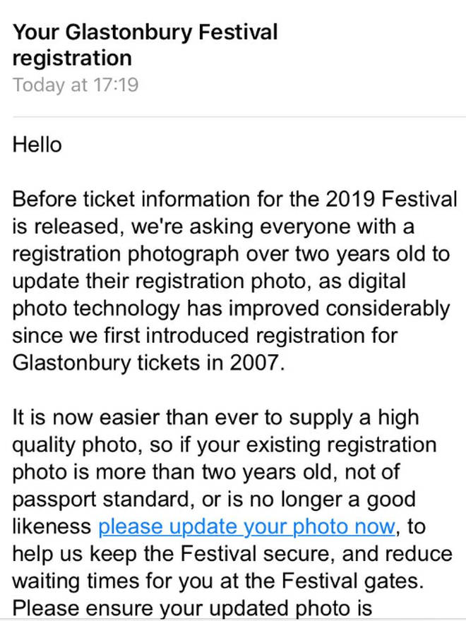 Glastonbury Festival registration email