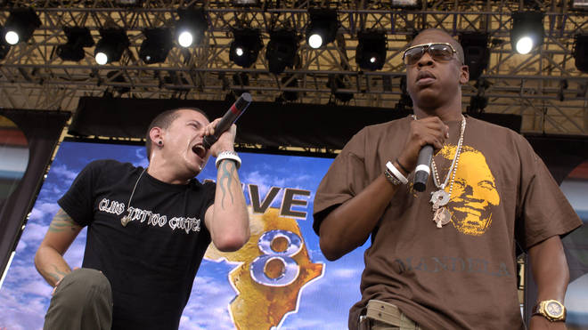 Chester Bennington of Linkin Park with Jay-Z during LIVE 8, July 2005
