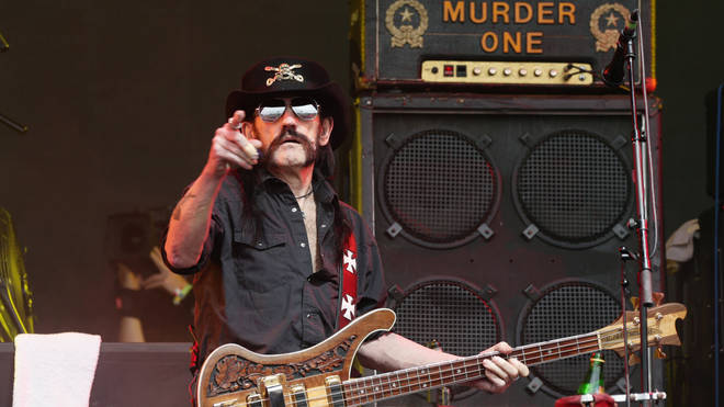 Lemmy of Motorhead performing on the Pyramid Stage at the Glastonbury Festival,