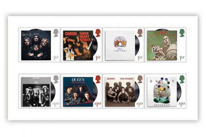 Classic Queen album covers on the new Royal Mail stamps