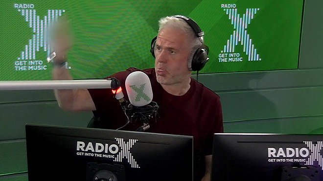Chris Moyles reacts as the wrong jingle gets played out on Radio X