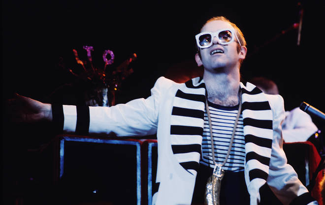 Elton John performs in London around 1975