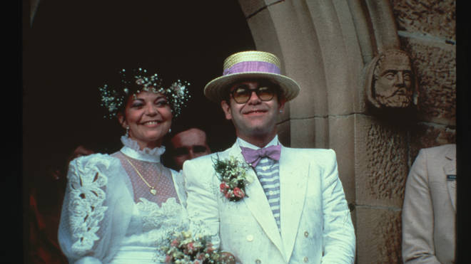 Renate Blauel and Elton John at their wedding in 1984