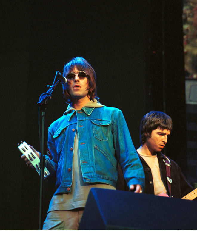 Liam Gallagher and Noel Gallagher at Wembley Stadium in 2000
