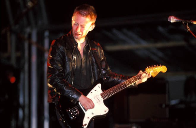 Thom Yorke performing with Radiohead at Glastonbury 1997