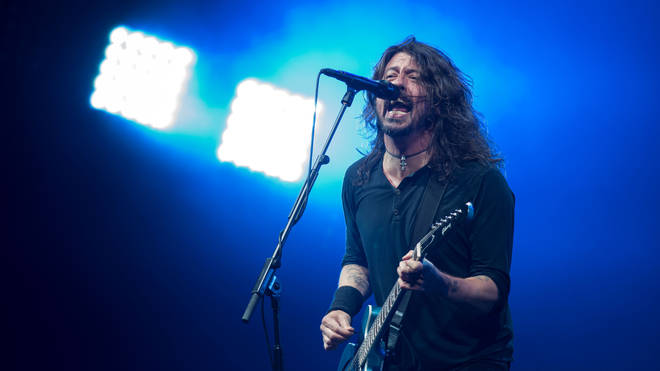 Dave Grohl performing with Foo Fighters at Glastonbury 2017