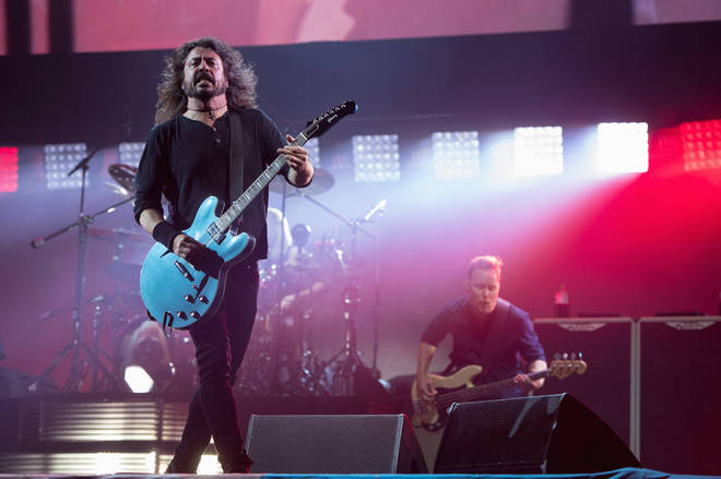 Dave Grohl and Nate Mendel of Foo Fighters perform  at Glastonbury Festival 2017