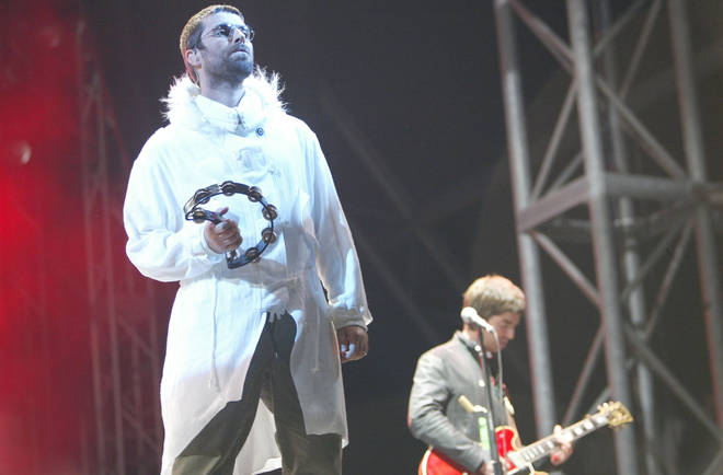 Liam and Noel Gallagher as Oasis headline Glastonbury in 2004