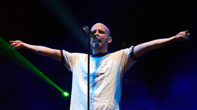 Moby performing on the Pyramid Stage at the Glastonbury Festival, 2003