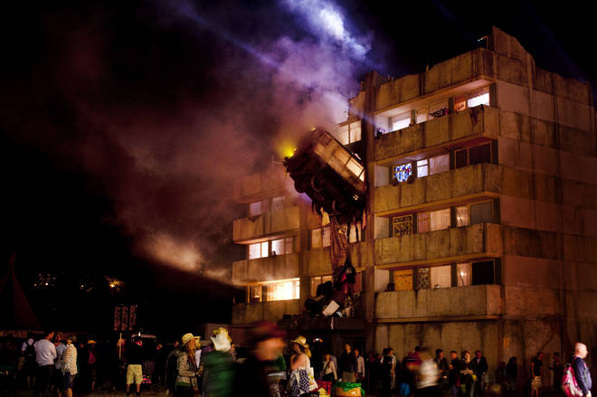 The Block9 area made its debut in 2010, recreating a tower block in the fields of Worthy Farm