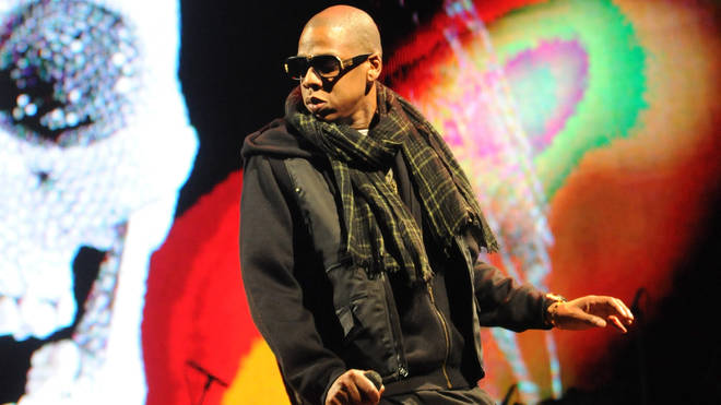 Jay-Z performs on the Pyramid stage during day two of the Glastonbury Festival 2008
