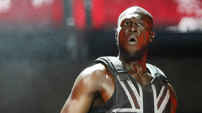 Stormzy performing on the Pyramid Stage during Glastonbury 2019
