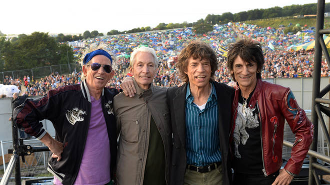 Keith Richards, Charlie watts, Mick Jagger and Ronnie Wood  before their headline set in 2013