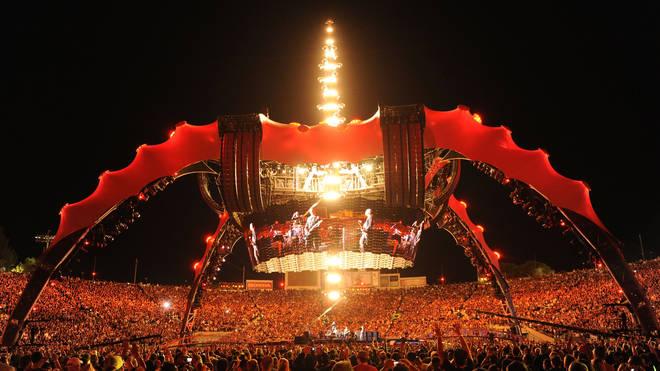 U2 performs at Rose Bowl during their U2 360 Tour on October 25, 2009 in Pasadena, California.