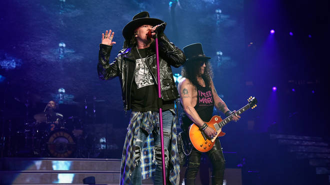 """Axl Rose and Slash of Guns N&squot; Roses perform onstage during the """"Not In This Lifetime..."""" Tour  at Madison Square Garden on October 11, 2017"""