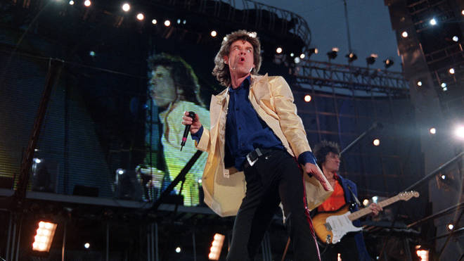 Mick Jagger sees the finishing line clearly in sight at the Don Valley Stadium, in Sheffield as the Rolling Stones Voodoo Lounge tour arrives on 9 July 1995