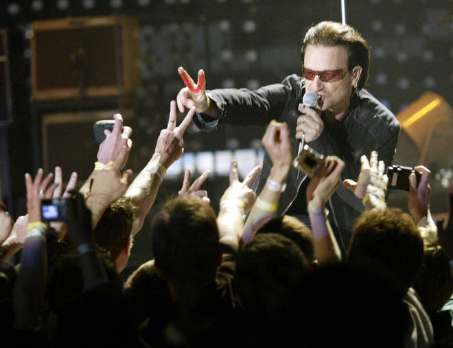 Bono tells fans how many years he'll be on the Vertigo Tour with U2 on the opening night at San Diego Sports Center, 28 March 2005
