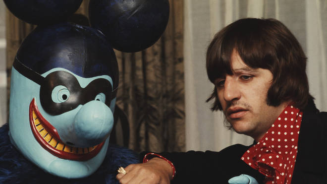 Ringo meets a Blue Meanie at the press reception for the Yellow Submarine film, July 1968