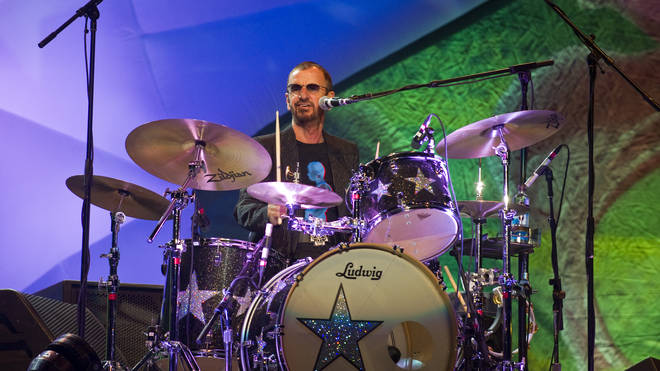 Ringo Starr playing the drums in Mexico City in 2011