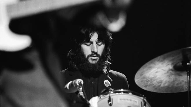 Ringo Starr plays drums during the Concert For Bangladesh in August 1971