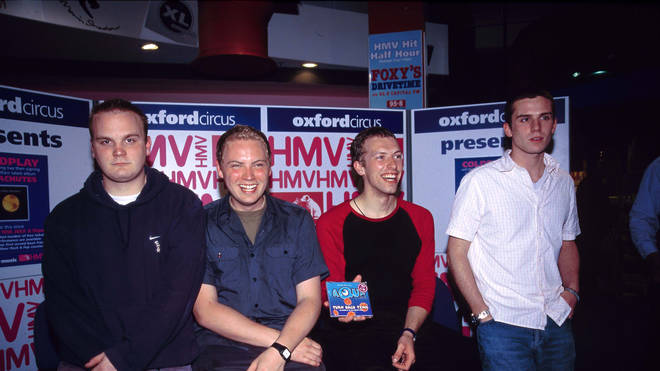 Coldplay on the day Parachutes was released; an instore performance at London's HMV Oxford Street on 10 July 2000
