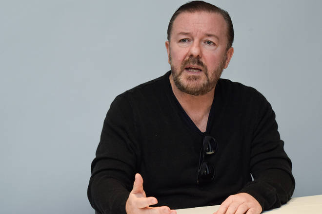"Ricky Gervais Portraits Ricky Gervais at the Hollywood Foreign Press Association press conference for ""After Life"" at The One Aldwych on March 01, 2020"