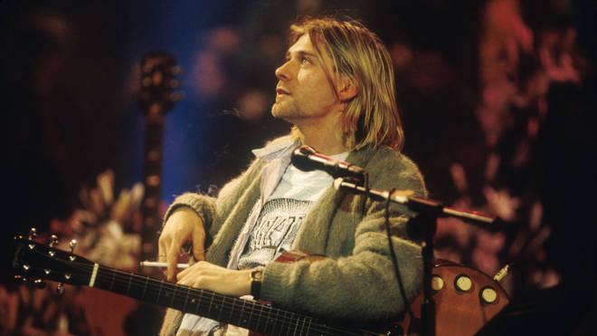Nirvana's Kurt Cobain performs at Nirvana's 1993 MTV Unplugged gig