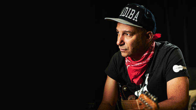 Tom Morello photographed backstage before a live solo performance at Ashton Gate Stadium in Bristol, England on June 5, 2019