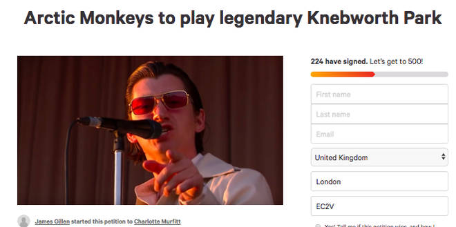 A change.org petition to get Arctic Monkeys to play Knebworth