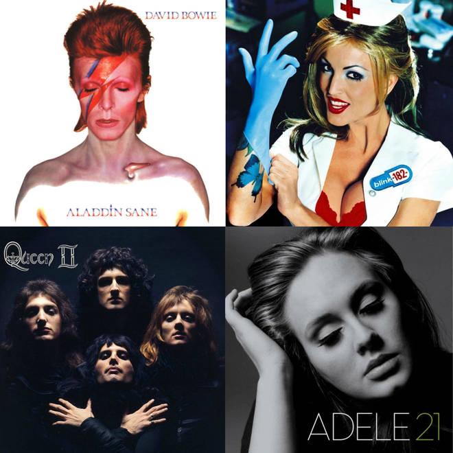 David Bowie's Aladdin Sane album, Blink 182's Enema of the State, Queen's II album and Adele's 21