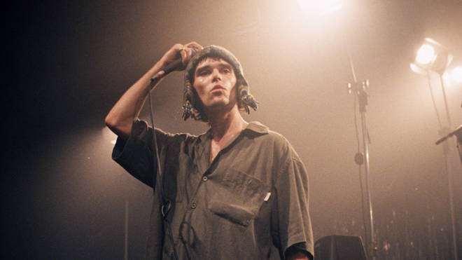 Ian Brown performs in Cambridge Corn Exchange with The Stone Roses in 1995