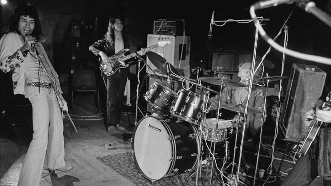 Queen rehearsing for their first major tour, 8th July 1973
