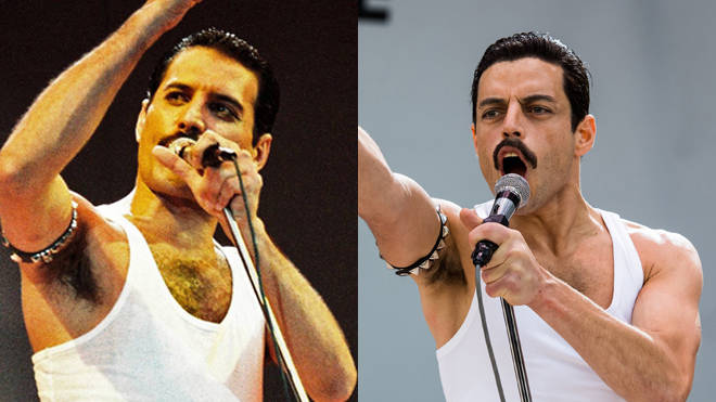 Freddie Mercury at Live Aid and Rami Malek's recreation for the film Bohemian Rhapsody