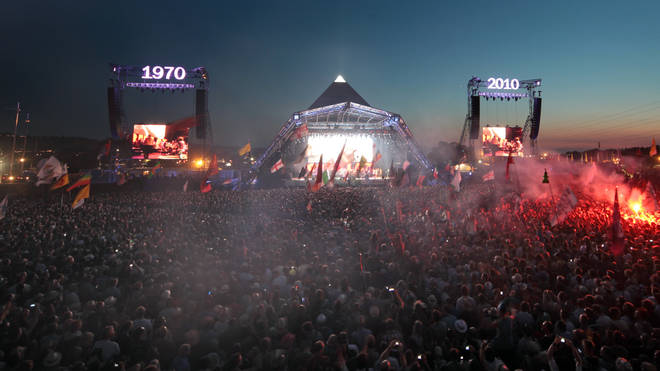 The Pyramid Stage at Glastonbury's 40th anniversary in 2010.