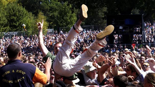Crowd surfing antics at V Festival 2003.