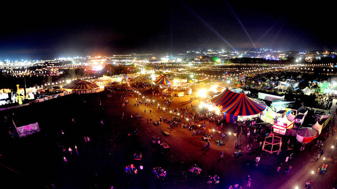 A view of the Glastonbury Festival site at night, June 2015