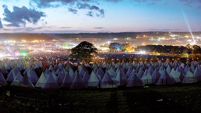 The view from the Tipi Field at Glastonbury, 2011