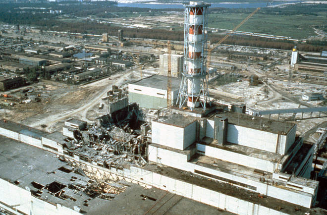 The aftermath of the Chernobyl disaster a few weeks after the disaster.