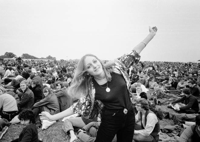 Girl dancing at The Isle of Wight Festival. 30th August 1969