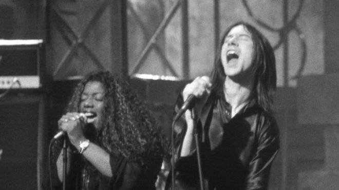 Denise Johnson and Primal Scream's Bobby Gillespie in 1996