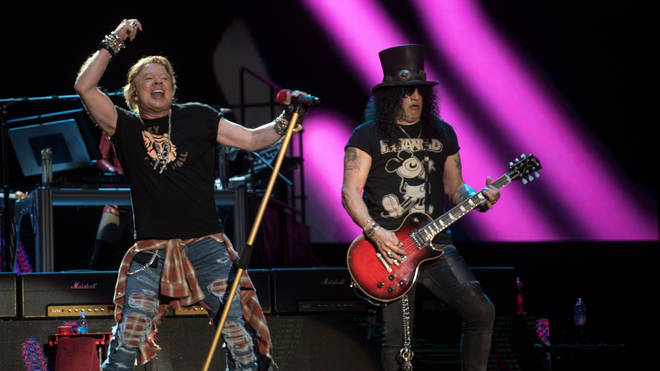 Guns N' Roses Axl Rose and Slash perform in 2020