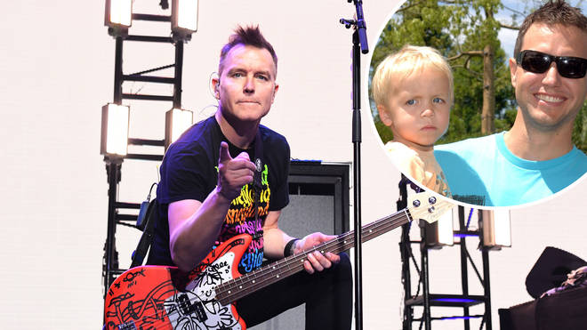 Mark Hoppus performing in 2020 and Mark Hoppus and his son in 2005